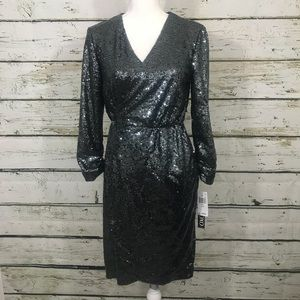 Xoxo silver sequins long sleeve wrap dress size M